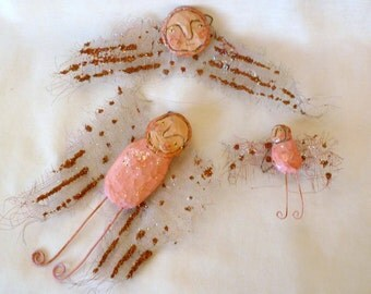 Delightful Handcarved Angels - Free USA Shipping - set #5
