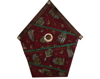 Small Art Quilt, Wall Hanging, Fabric Birdhouse, Red Birdhouses