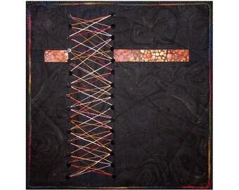 Art Quilt, Fabric Wall Hanging, Black Fiber Art, Abstract String Art