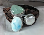 Gemstone  Wrap Bracelet, larimar ,aquamarine, moonstone and silver cuff bracelet, leather and stone bracelet