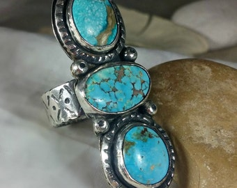 American Turquoise  Ring,Statement Ring, Silver  ring, silver and stone ring, turquoise jewelry, Triple turquoise ring, OOAK