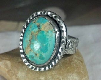 American Turquoise Statement Ring,  Silver and  turquoise  Solitaire Ring, turquoise Jewelry, rustic turquoise ring