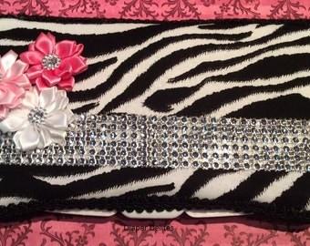 Zebra Boutique Travel Wipe Case Baby Shower Gift Rhinestones Pink Crystals Girl