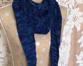 Handknitted Triangle Scarf in Shades of Blue