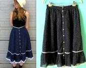 Jessica's Gunnies Skirt // Gunne Sax Prairie Revival Skirt // Women's Medium Size // Floral and Lace // Gunnie Sax // 1970s 70s
