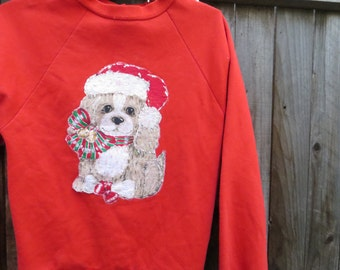 Puppy Dog Christmas Sweater // XSmall // not so ugly //