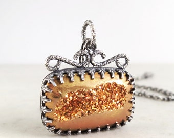 Drusy necklace, Sterling silver, golden gemstone, One of a Kind