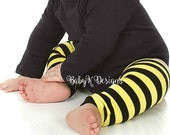 Baby Girl Boy Leg Warmer Halloween Costume Unisex Kid/ Child Legwarmer Yellow n Black Bumble Bee Bumblebee Monster High Legwarmer Accessory