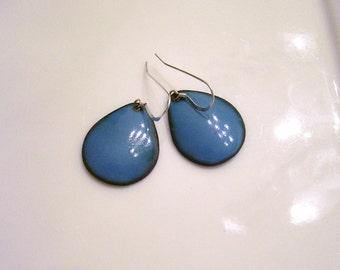 French Blue Copper Enamel Teardrop Earrings