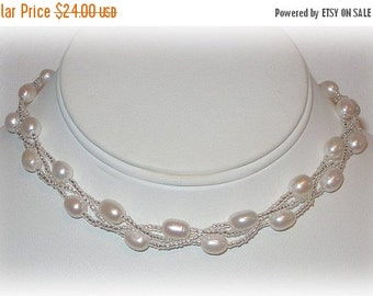 ON SALE 15% OFF Braided Pearl Necklace in White