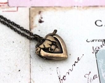 stallion. heart locket necklace. brass ox jewelry