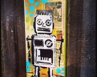 Robot Graffiti Painting on Canvas Pop Art Style Original Artwork Stencil Urban Street Art