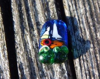 Sail the Emerald Sea, Handmade Artisan Glass Lampwork Bead, Simply Lampwork by Nancy Gant SRA G55