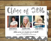 Combined graduation party invitation, graduation open house for more than one graduate, twins or triplets graduation party, class of 2015