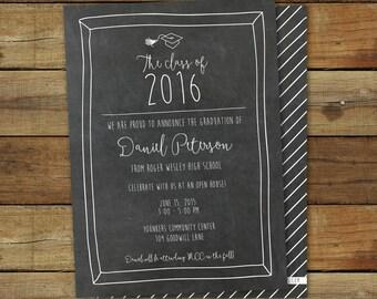 Chalkboard graduation party invitation, chalkboard writing printable graduation open house or graduation party invite card, class of 2017