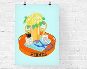 Hermes Tray Fashion Illustration Art Print