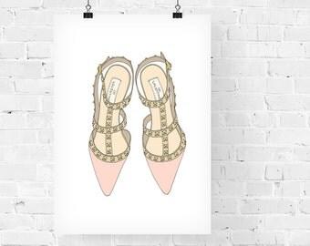 Studded Heels Pink Fashion Illustration Art Print