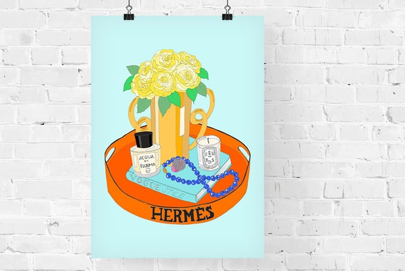 Hermes Tray Fashion Illustration Art Print