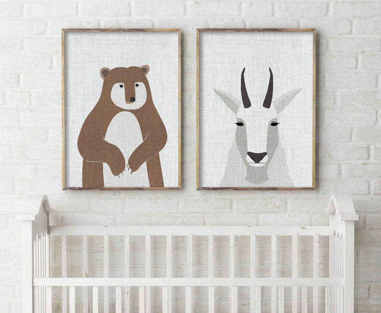 white tail deer art print large art mid century modern. Black Bedroom Furniture Sets. Home Design Ideas