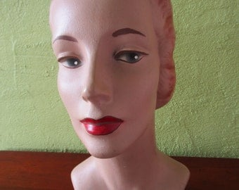 Mannequin Head Vintage Red Lip Classic Female Beauty Store Display Hats