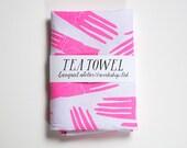 Pink Hand Palmistry Tea Towel