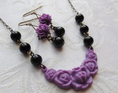 75% Off Price Sale- Iris Noir Earrings and Necklace Set