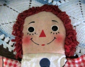 Vintage 1960s Raggedy Andy Collectible Hand Puppet by Knickerbocker Toy Company