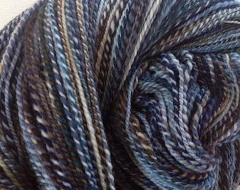 Handspun hand dyed fractal merino yarn 7.5ozs  620 yards Riverstone