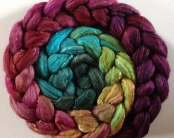 Hummingbird Hand Dyed roving  polwarth mulberry silk 70/30 made to order CTAS SAL Choose weight
