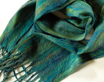 Hand felted Nuno scarf in merino and silk