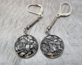 upcycled aluminum bits dangle leverback earrings