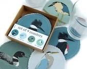 Wetlands Birds Fabric Coaster Set