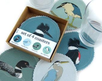 Wild Bird Coasters--Waterbirds--4 Fabric Coasters