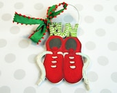 Runner Ornament, Marathon Ornament, Running Shoes Ornament, Cross Country Ornament, Track Team Ornament, personalized, painted, wood, coach
