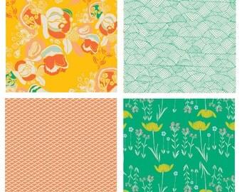 BUNDLE - Meadow - Fantasia  - Art Gallery Fabrics - Leah Duncan - Sara Lawson - Yellow Green Flowers