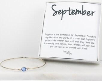 September Birthstone Swarovski Sapphire Sterling Silver Bangle Bracelet, Sterling Silver Bracelet, Sapphire Bangle Bracelet #763
