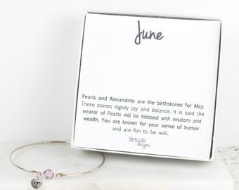 Personalized June Birthstone Swarovski Silver Bracelet, Light Amethyst Sterling Silver Bracelet, June Birthday, Personalized Bracelet