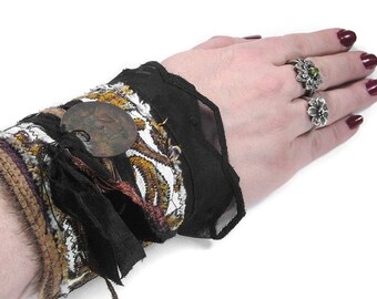 Steampunk Textile Cuff, Victorian GOLD BLACK Brocade Wrist Cuff, Vintage Ribbons Buttons, Brass Tag MORE- Steampunk Clothing by edmdesigns