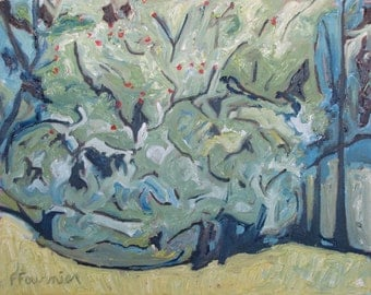 "Plein Air Landscape Oil Painting Wild Apple Tree Impressionist Abstract Original Green Orchard Quebec Canada Fournier "" High Apples  16 x 20"