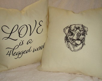 Toss Pillow - Love is a 4-Legged Word - w/your favorite breed outline - Several Sizes