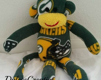 Green Bay Packers monkey plush toy Handmade Stuffed Animal Doll Baby