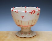 Ivory Pedestal bowl / Compote w. Cherry Red Pinstripes & Polka dots, Victorian modern
