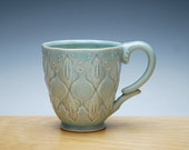 Light turquoise Frost handmade mug, Victorian modern stamped cup