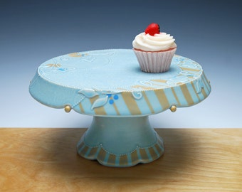Handmade Cake Stand (Large) in light turquoise Frost w. Tangerine Stripes and Leaf Swirl