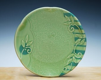 Medium Spring Green plate w.  Leaf swirl and Sky blue stripes & polka dot, Serving / dinnerware / lunch plate