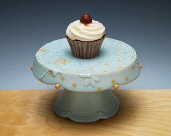 Frost turquoise Cupcake Stand w. Tangerine dots, Victorian modern