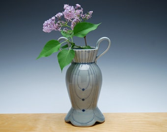Bud vase in Ocean gloss w. Navy blue polka dots & detail, Victorian modern Home decor