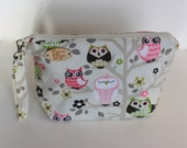 Pink Owls Knitting Project Bag