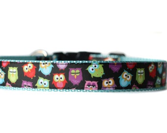 Dog Collar with Adjustable Buckle or Martingale in I don't give a hoot - Owls