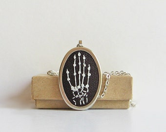 Skeleton hand necklace, embroidered hand x-ray jewelry, bony hand silhouette necklace, Halloween jewelry, Goth necklace